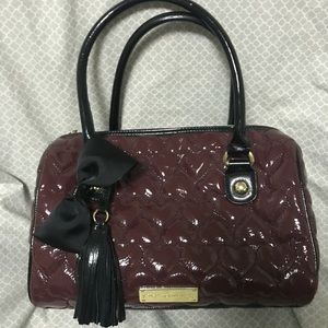 Betsey Johnson Large Plum Quilted Heart Bag Purse